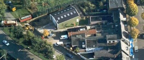 Luchtfoto van onze loods (tevens vuurwerkverkoop) in Vught